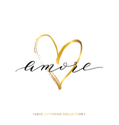 Amore text with gold heart isolated vector