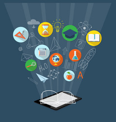 Banner for on line education e-book vector