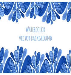 Blue floral border in russian or holland style vector