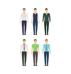Cartoon business man set staff dress style vector