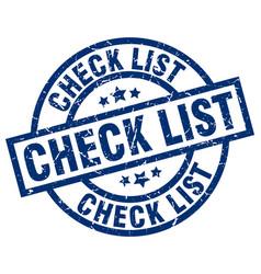 Check list blue round grunge stamp vector