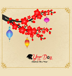 Chinese new year design dog with plum blossom in vector