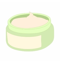Cosmetic face cream container icon cartoon style vector