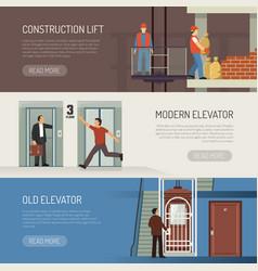 elevator horizontal banners set vector image