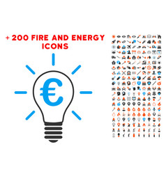 euro idea bulb icon with bonus fire collection vector image vector image