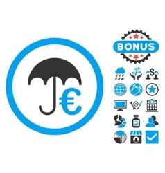 Euro Umbrella Flat Icon with Bonus vector image