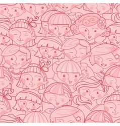 Girls in the crowd seamless pattern background vector image
