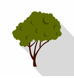 Green tree with a rounded crown icon flat style vector