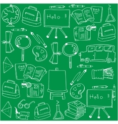 Hand draw school doodles set on green backgrounds vector