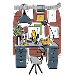 modern workplace interior in loft style workspace vector image vector image