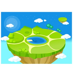 mountain top lake vector image
