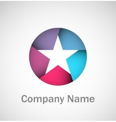 Origami star logo vector image