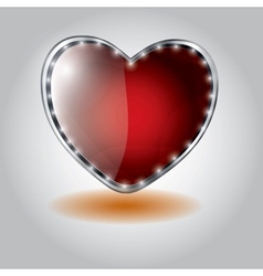 red heart shaped glass button on valentine vector image
