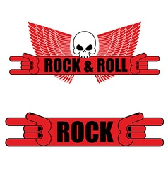 Rock and roll logo rock hand sign and wings logo vector