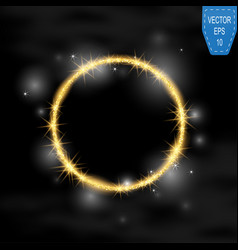 round frame gold glittering star dust vector image
