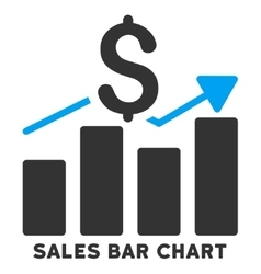 Sales bar chart icon with caption vector
