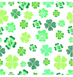 seamless green clover leaf decorative background vector image vector image