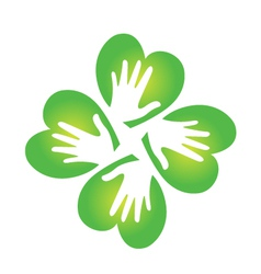 Shamrock and hands logo vector image vector image