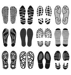 The collection of a shoeprints shoes silhouette vector