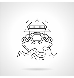 Tugboat thin line icon vector image