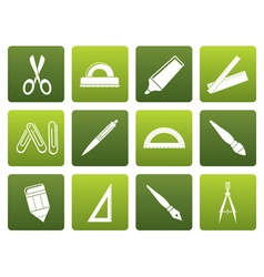Flat school and office tools icons vector