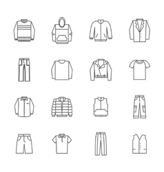 Men clothing icons in thin line style vector