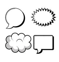 set icons bubble speech silhouette design vector image