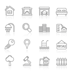 Line realistic real estate icons vector