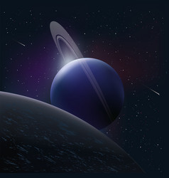 Bright planet in space around the comet and stars vector