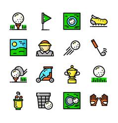 thin line golf icons set vector image