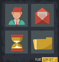 black background squares set with man and mail and vector image