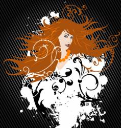 Girl with orange hair vector