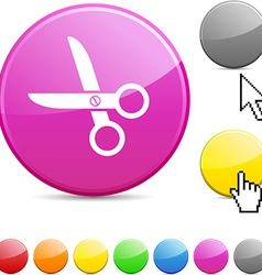 Scissors glossy button vector