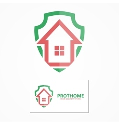 House with shield logo design concept vector
