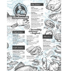 Menu seafood template brochure or flyer vector