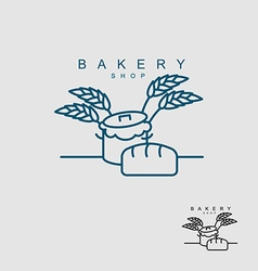 Bakery shop logo pan with dough bread and wheat vector