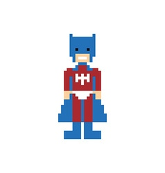 Pixel people superhero avatar vector
