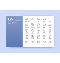 Set of SEO Search Engine Optimisation Elements and vector image