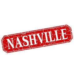 Nashville red square grunge retro style sign vector