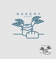 Bakery shop logo pan with dough bread and wheat vector