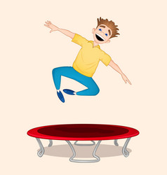 Boy jumping on trampoline vector