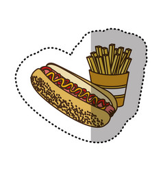 Color hot dog and fries french icon vector