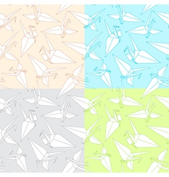 Different patterns with origami paper cranes vector