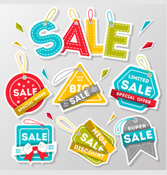 Discount sale advertising sticker set vector
