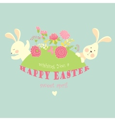 Easter bunnies with flowers vector image vector image
