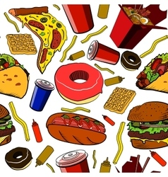 Fast food pattern vector