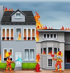 Firemen at the scene of house fire vector image vector image