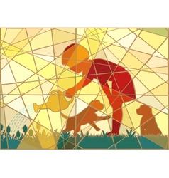 Gardening girl mosaic vector