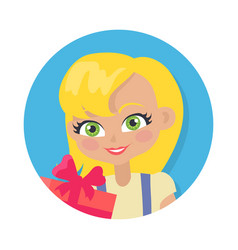 Girl with fair hair and giftbox cartoon style vector