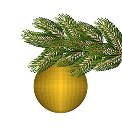 Green lush spruce and gold ball ornament for vector